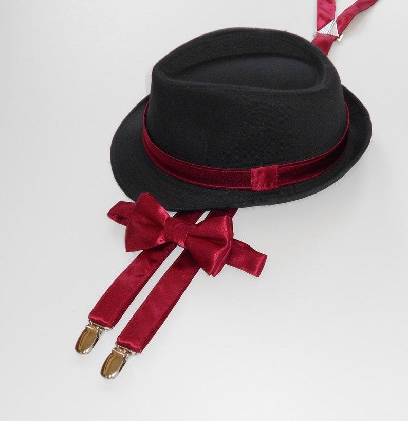 bf21ef04c42a Burgundy Bow Tie Wine Bowtie Suspenders Fedora Toddler   Etsy