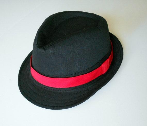 64391d65 Boy's Black Hat Red Band | Etsy