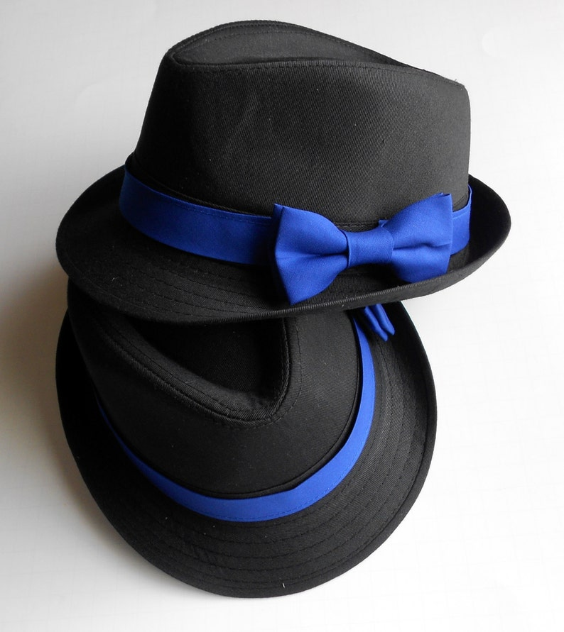 2fae310c0 Toddler Boy's Black Fedora Hat with Royal Blue Band