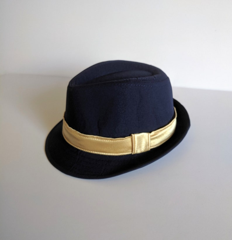 3f99c68d Boy Navy Fedora Hat with Gold Band | Etsy