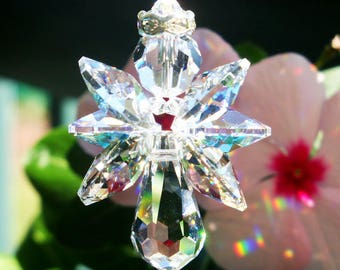 Angel Rear View Mirror Charm, Swarovski Crystal Suncatcher for Car, Rearview Mirror Accessories