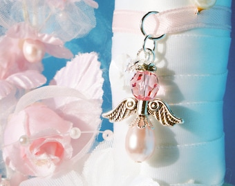 Pink Wedding Bouquet Charm, Swarovski Crystal and Pearl Angel Bridal Bouquet Charm, Bridal Shower Gift, Bouquet Accessories