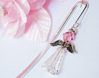 Crystal Angel Bookmark, Pink Swarovski Crystal Book Mark