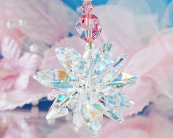 Swarovski Crystal Suncatcher Car Charm, Pink Rear View Mirror Car Accessories, Hanging Crystals, Car Mirror Charm