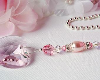 Pink Ceiling Fan Pull Chain, Little Girls Room, Nursery Decor, Swarovski Crystal Light Pulls, Baby Shower Gift