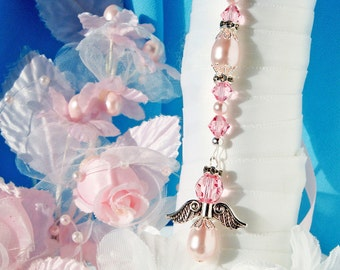 Pink Wedding Bouquet Charm, Angel Bridal Bouquet Charm, Swarovski Crystal and Pearl Wedding Angel, Bouquet Accessories