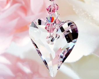 Crystal Suncatcher, Rear View Mirror Charm, Pink Car Accessories, Car Mirror Hanger, Swarovski Crystal Car Charm