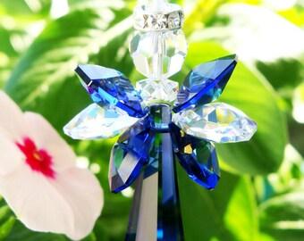 Angel Rear View Mirror Charm, Blue Swarovski Crystal Suncatcher for Car, Rearview Mirror, Car Accessories