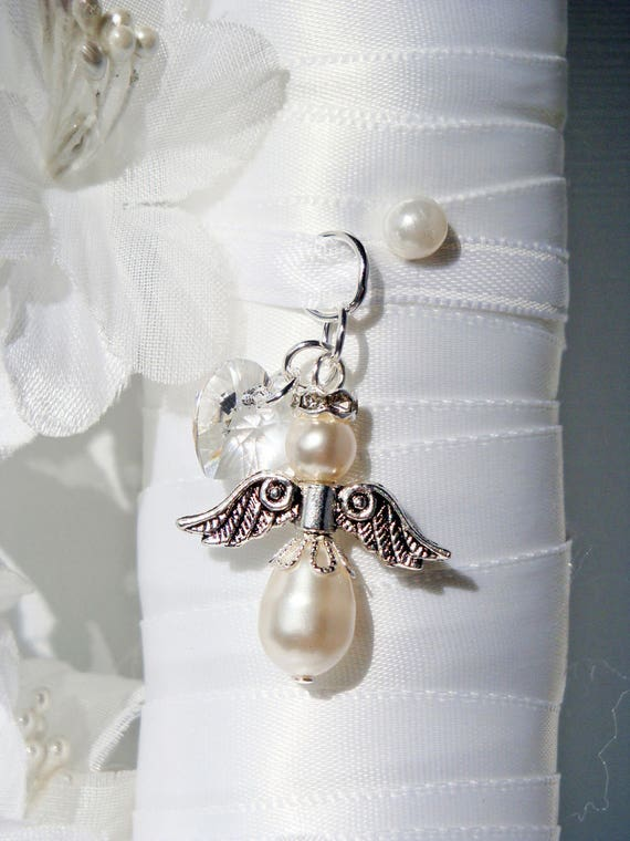 Wedding Bouquet Charm White Swarovski Crystal And Pearl Angel