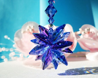 Crystal Rear View Mirror Charm, Blue Swarovski Crystal Rear View Mirror Accessories, Car Mirror Charm, Rearview Mirror