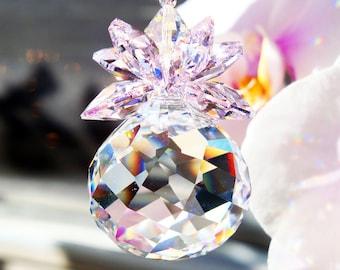 Crystal Suncatcher, Pink Swarovski Crystal Prism Sun Catcher, Hanging Crystal, Feng Shui Decor, Swarovski Suncatcher