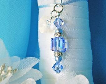 Something Blue Wedding Bouquet Charm, Swarovski Crystal Bridal Bouquet Accessories, Something Blue for Bride