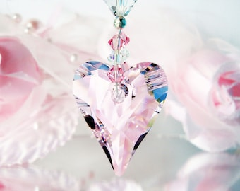 Swarovski Crystal Suncatcher, Pink Rear View Mirror Charm, Car Accessory, Crystal Sun Catcher, Hanging Crystals