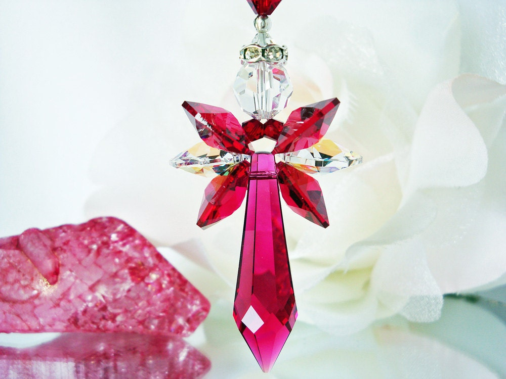 Red Crystal Angel Suncatcher Car Charm Swarovski Crystal