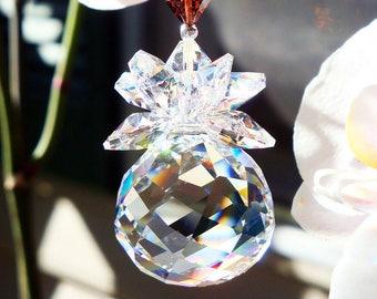Swarovski Crystal Suncatcher, Brown Feng Shui Decor, Prism Sun Catcher, Hanging Crystals