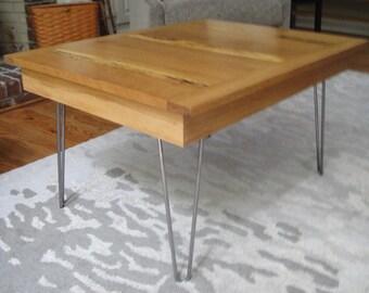 Reclaimed Oak Mid Century Coffee Table with Harpin Legs