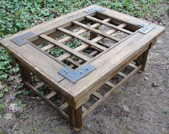 Coffee Table Cedar Made From Reclaimed Weathered Gate