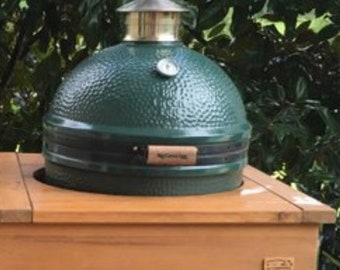 Custom Made Compact Solid Cypress BBQ or Smoker Big Green Egg Work Table  With Drawer and Drop Down Work Space