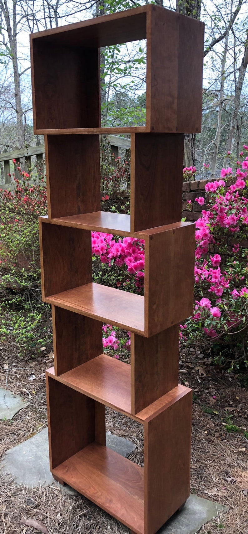 Tall Boy Bookcase Cherry Mid Century With Extra Height Shelves