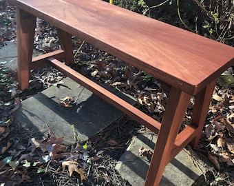 Hand Crafted Solid Mahogany 48 Inch Table or Counter Bench
