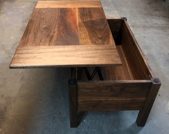 Lift Top Combination Storage Coffee Table and Desk Made From Solid Hardwoods or Pine