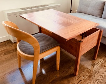 Tall Lift Top Combination Storage Table and Desk Made From Solid Hardwoods or Pine