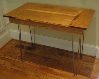 Reclaimed Oak Mid Century Modern Side or Utility Table with Harpin Legs