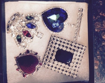 Lot of Four Beautiful Vintage Brooches - Hearts, Crown, and Art Deco Rectangle