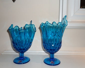 Vintage Fenton Blue Handkerchief Ruffle Glass Vases Lot of Two