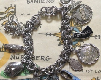 Vintage Silver Travel Charm Bracelet with Sterling Charms