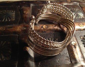 Vintage Sterling Silver Twisted Braided Cuff Bracelet