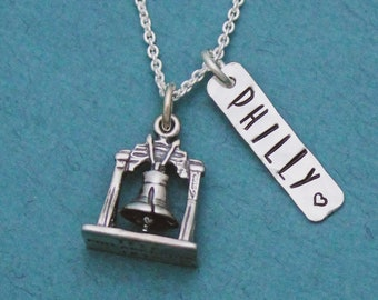 Philly Liberty Bell Necklace in Sterling Silver, Philadelphia PA Jewelry