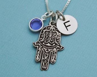 Silver Hamsa Necklace Spiritual Necklace Silver Hand Necklace Bat Mitzvah Gift Hamsa Eye Necklace