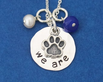 We Are Necklace, Penn State Necklace, Nittany Lions Gift, PSU Grad Gift, Graduation Gift for Penn State, Hand Stamped Jewelry