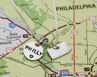 Tiny Philly PA State Home Necklace in Sterling Silver, Philadelphia Necklace