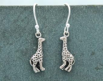 Cute Sterling Silver Giraffe Earrings, Fun Animal Earrings, Sterling Silver Earrings, Safari Earrings, Giraffe Earrings, Giraffe Jewelry