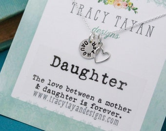 Dainty Daughter Necklace Personalized Sterling Silver, Hand Stamped Jewelry Gift, Daughter Jewelry, Daughter Box Gift, Gifts for Daughters