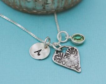 August Heart Birthstone Necklace, August Peridot Jewelry, August Birthday Gift, August Birthstone Jewelry, Peridot Necklace, Sterling Silver