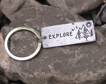 Explore Key Chain, Adventuring Keychain, Hiker Gift, Outdoorsy Gift, Gifts for Her, Gifts for Him, Mountains are Calling Keychain,Go Outside