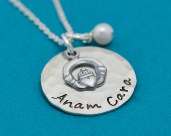 Anam Cara Friends Necklace, Best Friends Gift, Friends Necklace, Celtic Jewelry, Besties Necklace, Hand Stamped Necklace, Anam Cara Necklace