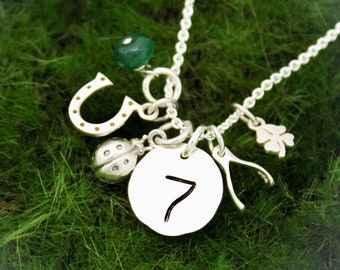Lucky Charm Necklace, Lucky 7 Horseshoe 4 Leaf Clover Wishbone Charm Necklace, Sterling Silver Lucky Charm Necklace, Hand Stamped Jewelry