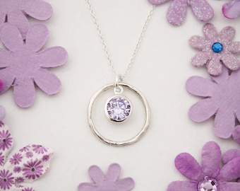 June Birthstone Necklace Alexandrite Jewelry Birthday Gift Sterling Silver