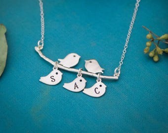 Mommy Bird and Baby Bird Necklace, Mom Bird Necklace, Personalized Mommy Jewelry, Mother's Day Gift, Gifts for Her, Personalized Jewelry