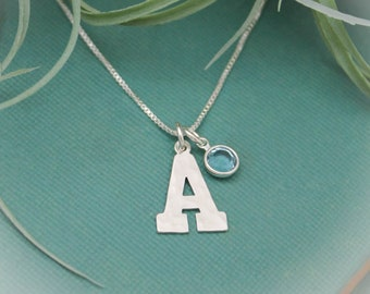 Initial Necklace in Sterling Silver with Birthstone, Birthstone Birthday Gift, Personalized Gift, Initial Jewelry Gift, March Birthstone