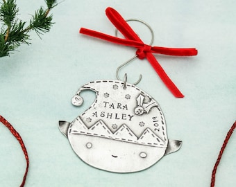 Personalized elf ornament Hand stamped pewter Christmas ornament Christmas gift Family Elves First Christmas