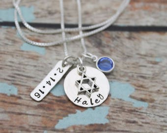Bat Mitzvah Necklace with Date and Birthstone, Personalized Bat Mitzvah Necklace, Bat Mitzvah Gift, Hand Stamped Jewelry, Sterling Silver
