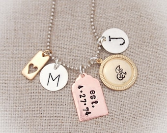 Sterling Silver, Copper, Brass  Personalized Family Mother Necklace Hand Stamped Jewelry