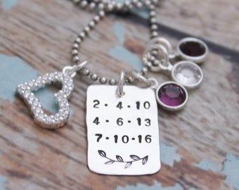 Personalized Mother's Necklace, Grandmother Jewelry, Birthdate Necklace, Birthstone Necklace, Hand Stamped Jewelry, Personalized Jewelry