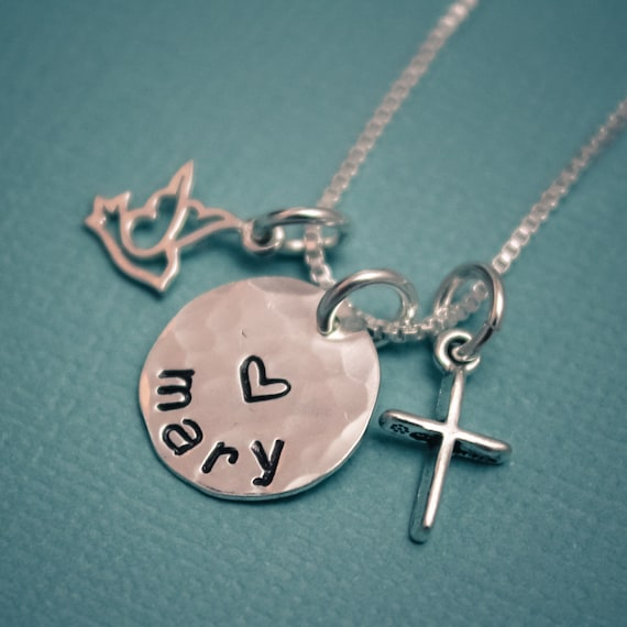 Confirmation necklace, Dove and Cross necklace