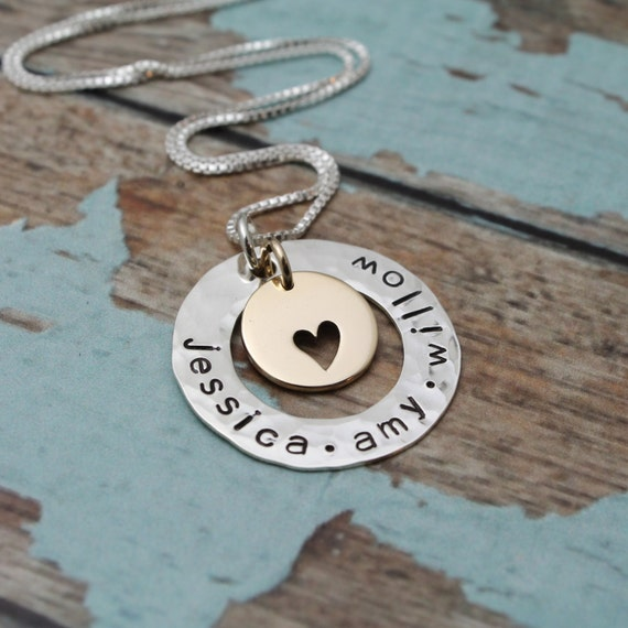 Mother of Five Grandmother Personalized Hand Stamped Necklace